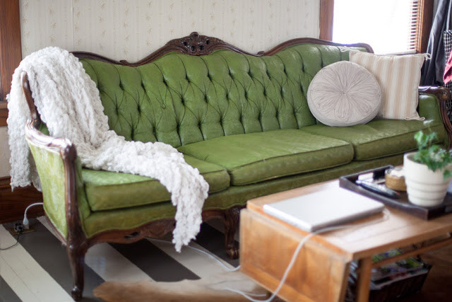 DIY Sofa painting before & After
