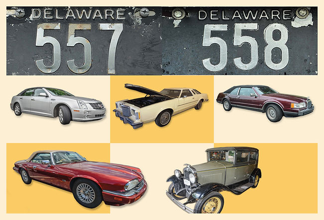 Sequential Low Digit Delaware License Plates & Estate Vehicles