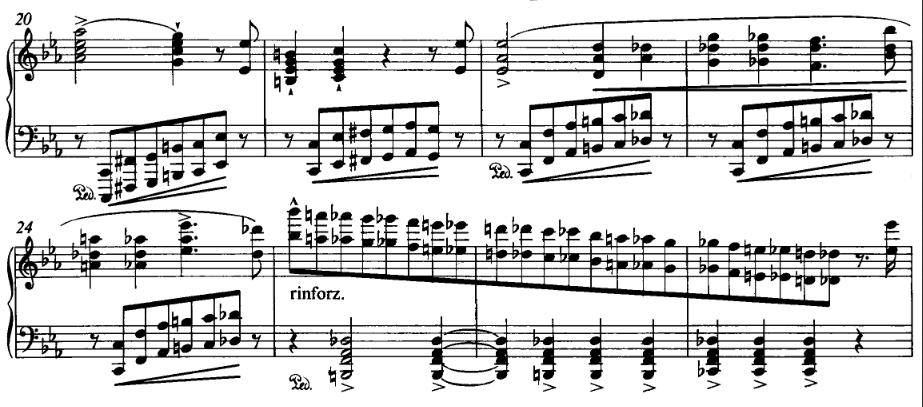 Liszt Orage, bars 20 to 27