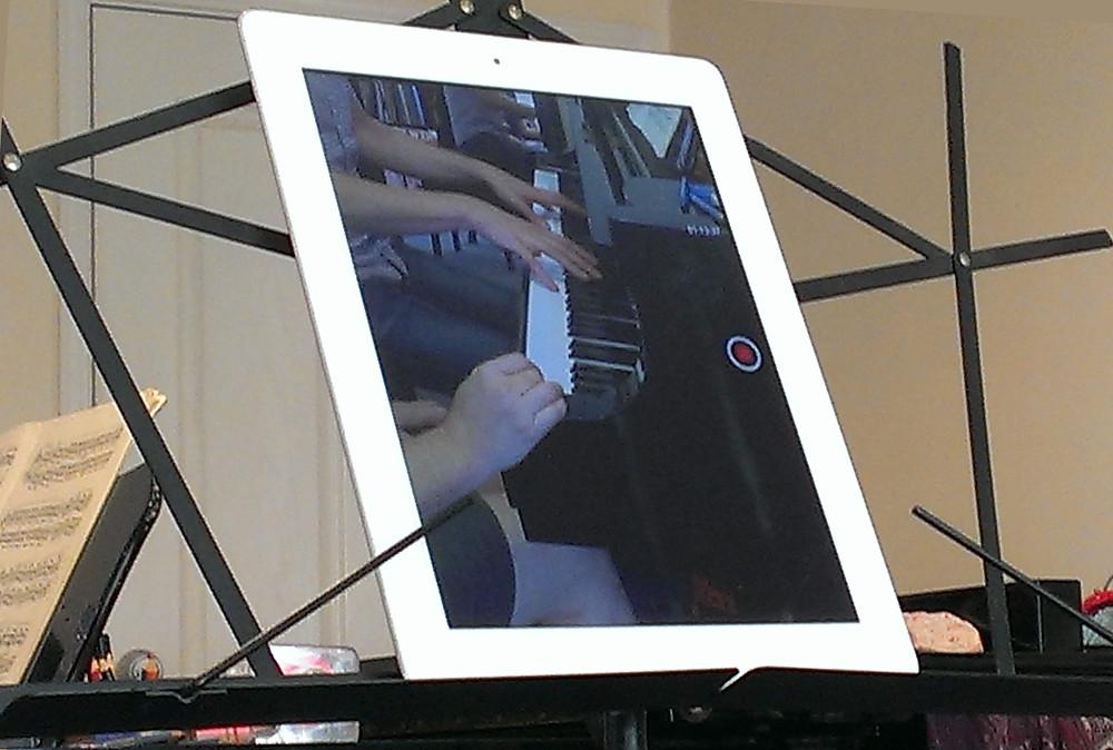 iPad recording piano lesson