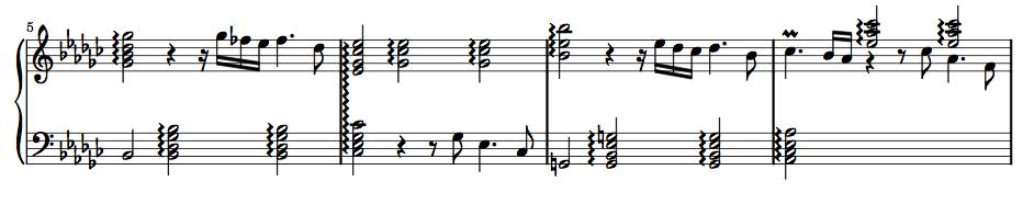 J.S. Bach, Prelude in E-flat minor BWV 853, bars 5 – 8