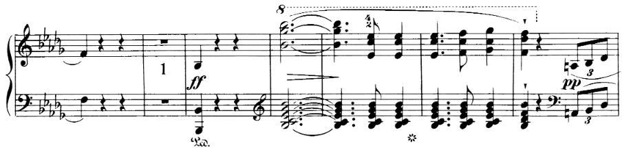 Chopin Scherzo No 2, bars 3 to 9