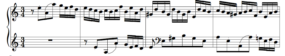 J.S. Bach, Prelude from Suite in A minor BWV 807, bars 1 – 4
