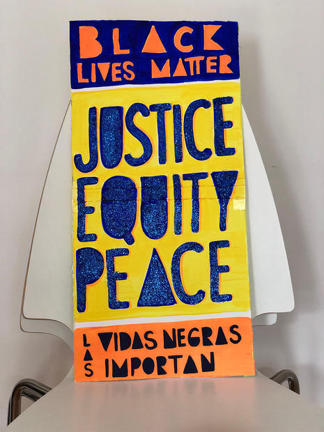 Justice, Equity, Peace sign