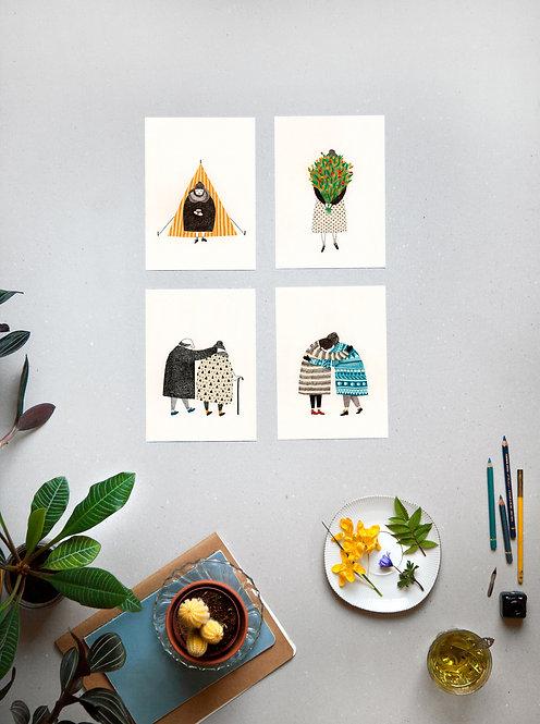 Ett set med fyra vykort