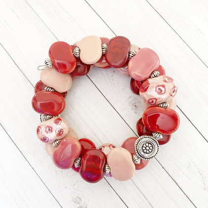 wrap bracelet - shades of pink and red