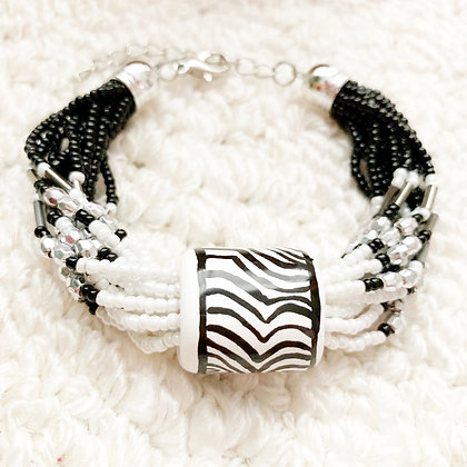 black and white slider bracelet
