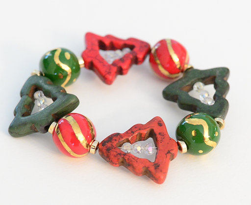 red, green & gold christmas bracelet