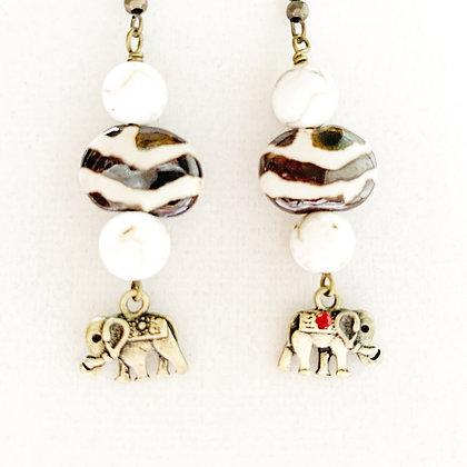 cream and antique bronze elephant earrings