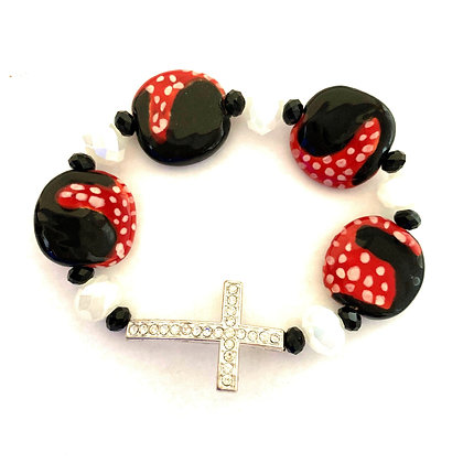 black and red with cross bracelet