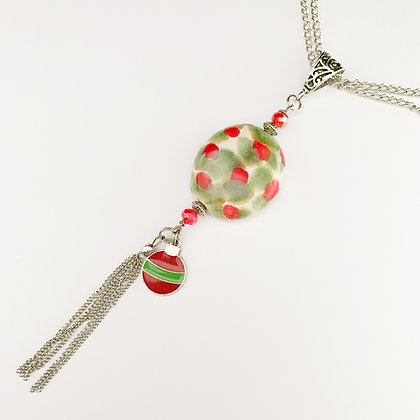 green and red with ornament charm necklace