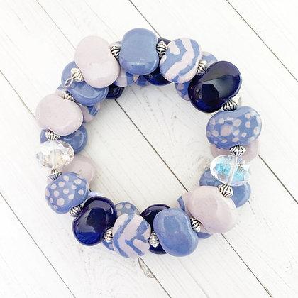 wrap bracelet - blue and lavender