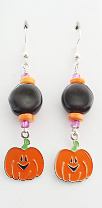black, orange, purple jack-o-lantern earrings