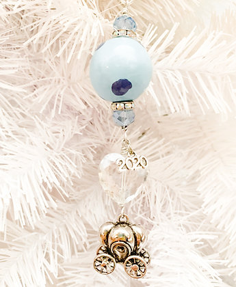 princess carriage ornament small blue