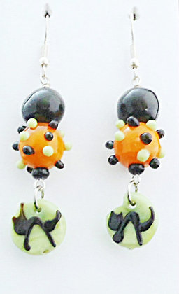 black, orange and green earrings with black cats