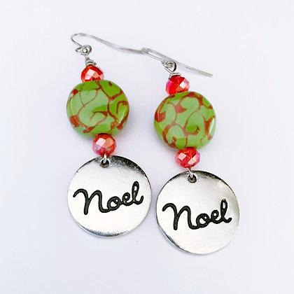 green and red swirl Noel earrings