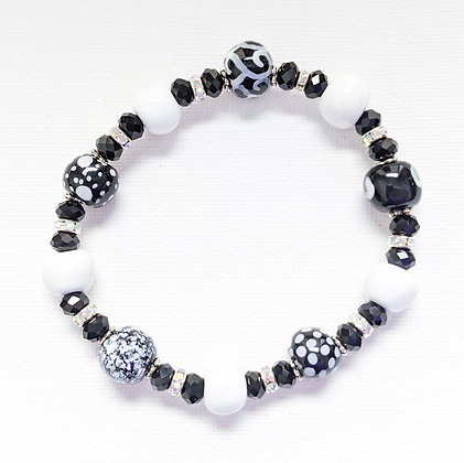black and white dots stackable bracelet