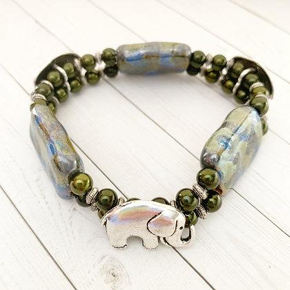blue & green elephant double strand bracelet
