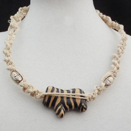zebra pattern macrame necklace