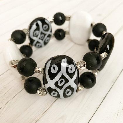 black and white double bracelet
