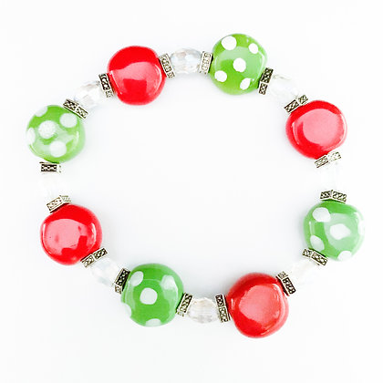 red and green with dots coin bracelet