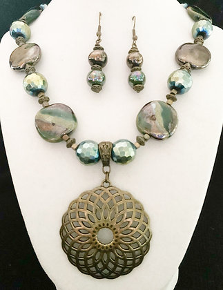 green and antique gold necklace or earrings