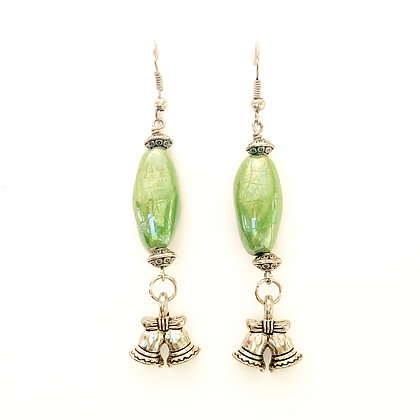 green with bells earrings
