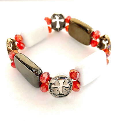 white, red, antique gold with cross bracelet