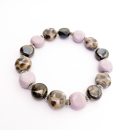 lavender, metallic brown and gray stackable bracelet