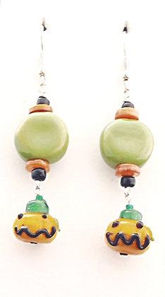 green and orange jack-o-lantern earrings
