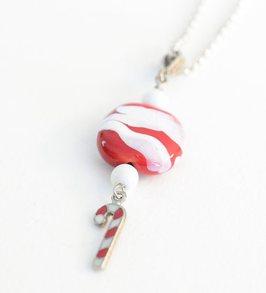 red and white candy cane necklace