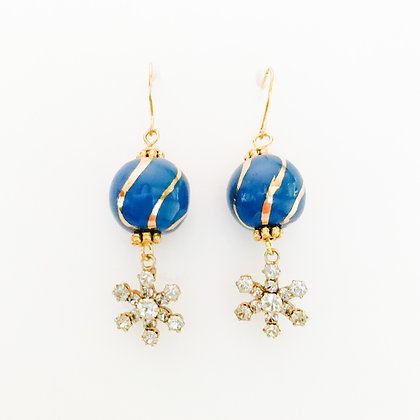 blue with gold stripes snowflakes earrings