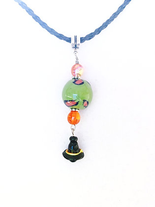 green and orange with witch's hat charm pendant