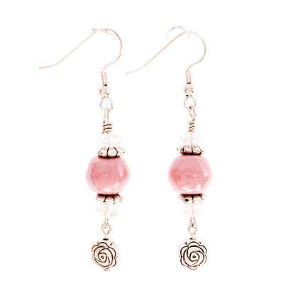 petal pink with roses earrings