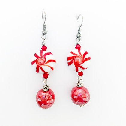 red peppermint Holiday earrings