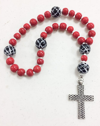 red and black prayer beads