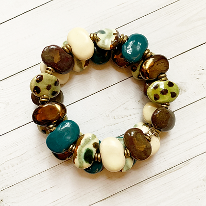 brown, green, cream wrap bracelet