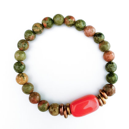 rosso orange and green stackable bracelet
