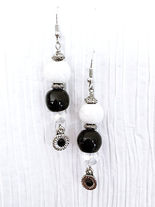 black and white with charm earrings