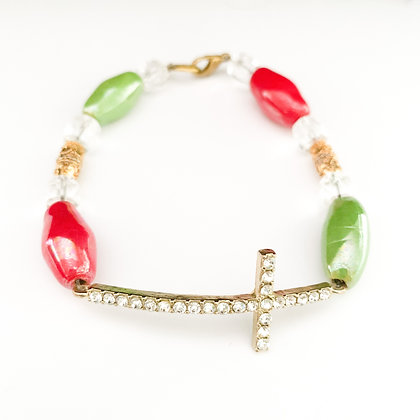 red and green with cross bracelet