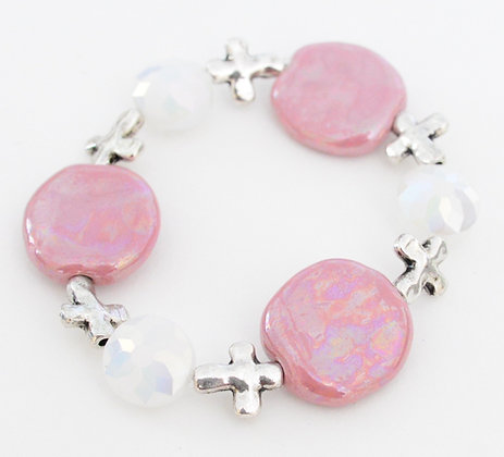 pink and white cross bracelet