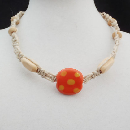 orange with yellow dots macrame necklace