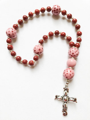 pink dot prayer beads
