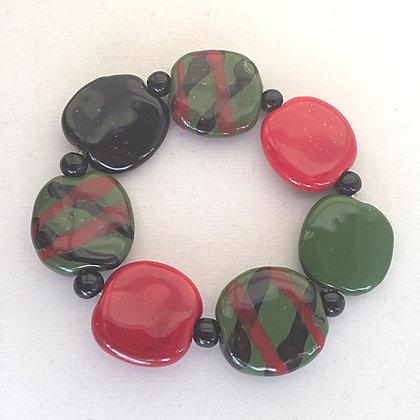 green, red and black splash budget bracelet