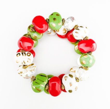 red, green and white with gold wrap bracelet