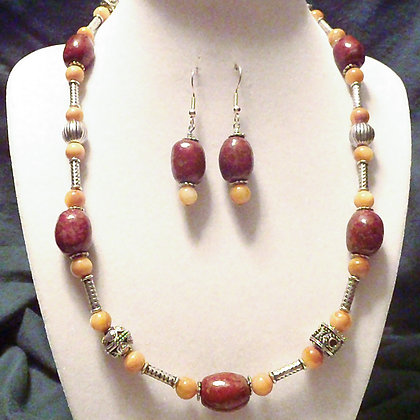 deep pink & tan necklace or earrings