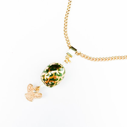 green and gold with angel necklace