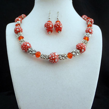 orange and white dots necklace or earrings