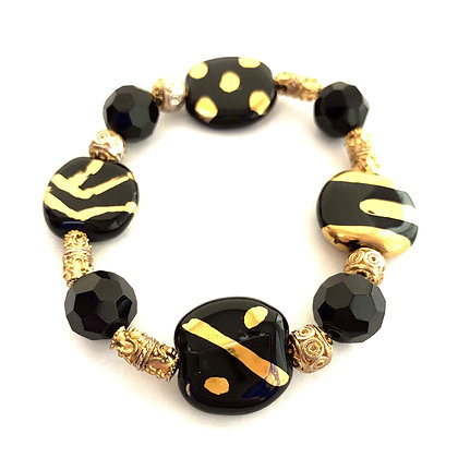 black with gold multi pattern bracelet