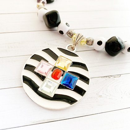 black and white with colors necklace or earrings